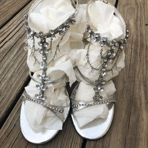 Beverly Feldman Silver Jeweled Strappy Heels Shoes